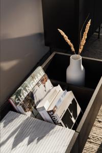 books in a book holder